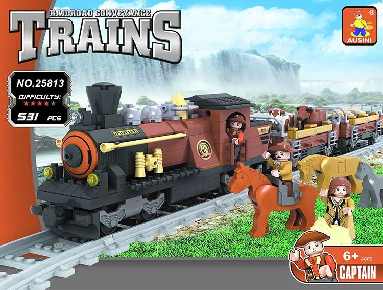 Ausini 531Pcs Railway Train Blocks Assembling bricks Toys Model playmobil educational toys for children compatible technic 008