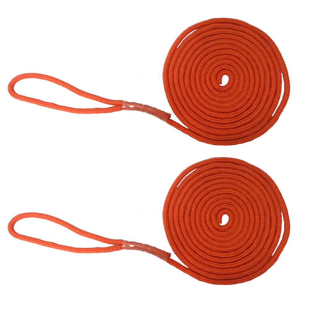 2PC 15FT 10.5MM Marine Boat Fender Dock Line Double Braid Anchor Mooring Rope