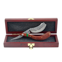 ZY Luxyry Men Straight Shaving Razor Red Sandalwood Razor Barber Damascus Knife Best Gife Art Collection