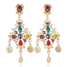 Charmcci Luxury Elegant Colorful Rhinestone Earrings for Women Fashion Long Drop Accessories