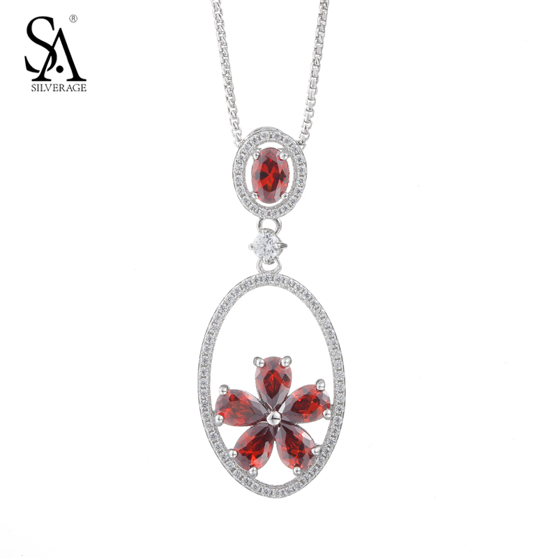 SA SILVERAGE Pendants Silver Red Flower CZ Drop Necklace Genuine 925 Silver Chain Necklace For Women Birthday Gift retro style flower pendants necklace for women