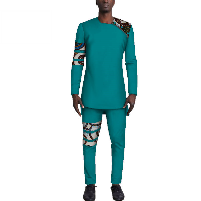 Casual-Mens-African-Clothing-Bazin-Riche-Patchwork-Top-Shirt-and-Pants-for-Men-Custom-100-Cotton(2)
