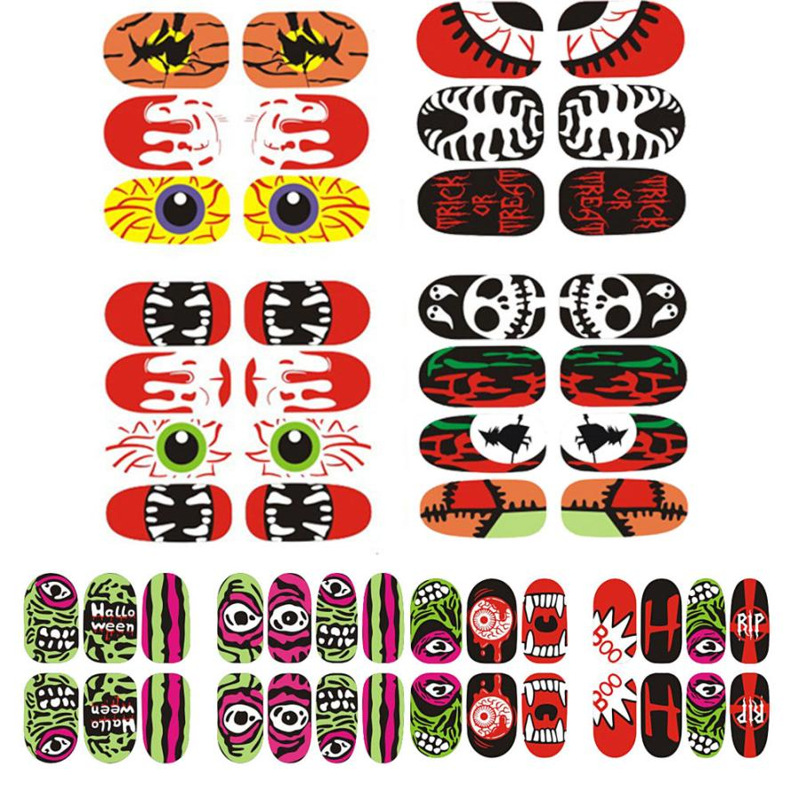 new halloween decoration party decoration luminous nail art sticker mascara halloween supplies citrouille halloween hot sale - Halloween Decoration Sales