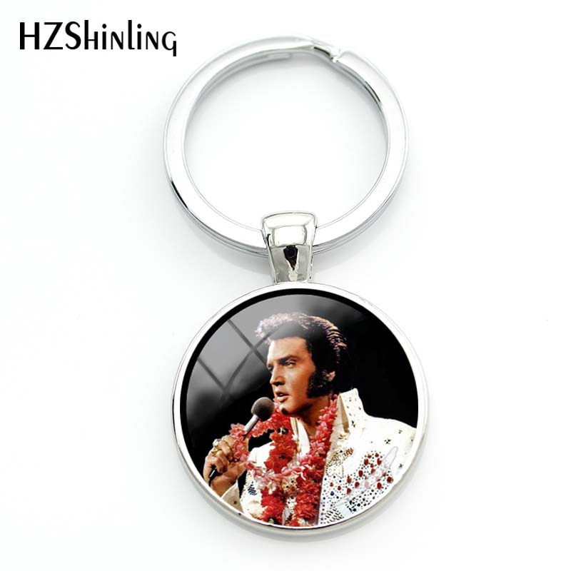 New Fashion Elvis Presley Silver Keychain Hand Craft Glass Dome Rock Music Singer Jewelry Round Heart Star Shape Key Chain
