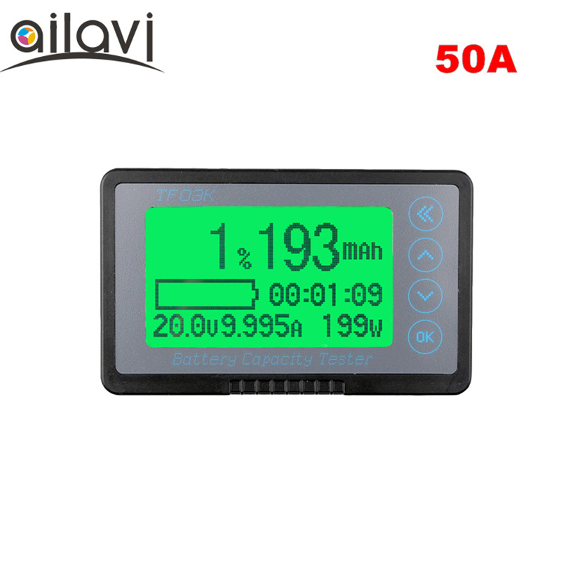 TF03K Big Screen 50A Battery Capacity Tester Coulomb Battery Meter DC Display  Dedicated for RV / Electric Car 80v 50a precise real capacity tester meter for lifepo4 lithium lipo liion battery