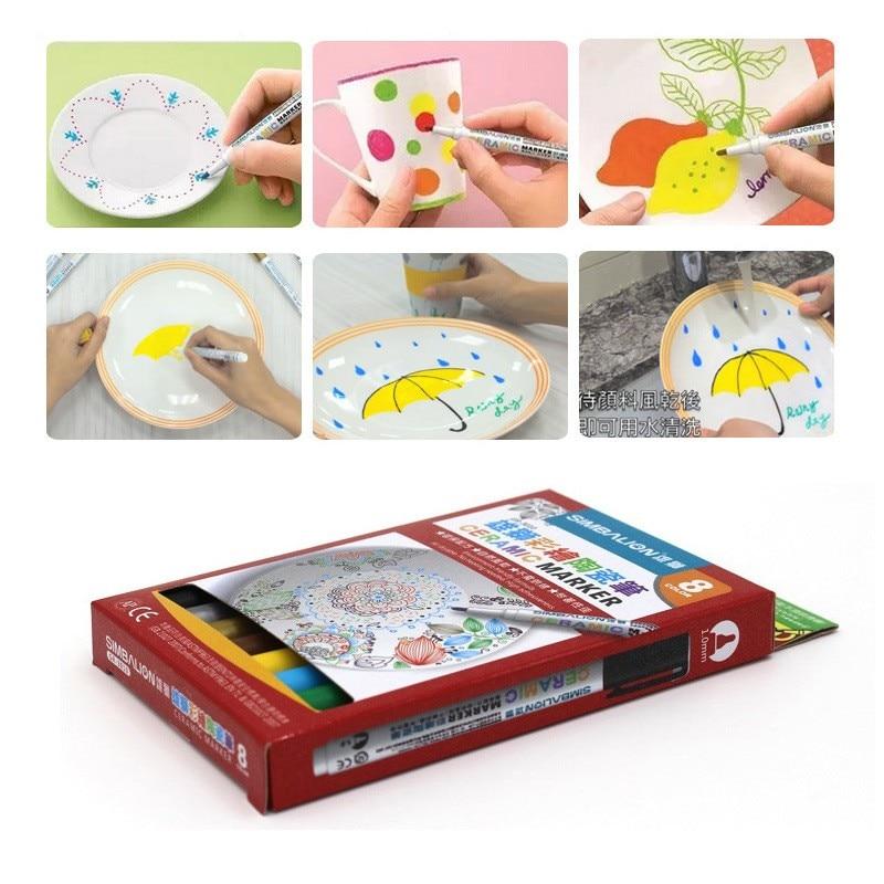 Caneta de cerâmica com 8 cores, caneta artista, marcadores de cerâmica, não-tóxico, para desenho faça você mesmo