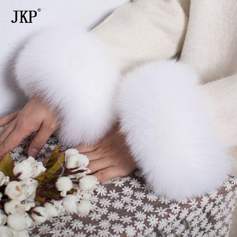 Poignets de fourrure de renard 2017 Véritable Fourrure De Renard Manchette Arm Warmer Lady Bracelet Réel De Fourrure Bracelet Gant