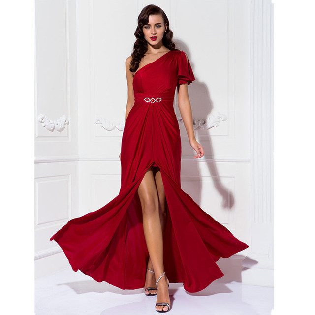 TS Couture One Shoulder Floor Length Jersey Prom Formal Dress ...