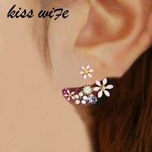 KISSWIFE, корейские модные серьги с искусственным жемчугом, маленькие цветы маргаритки, висячие серьги, Женские Ювелирные изделия