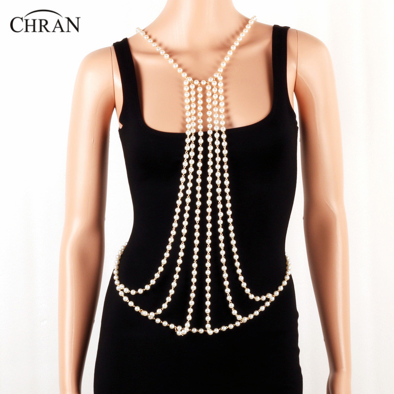 Chran Beach Chain Bra Faux Pearl Long Harness Necklace For Women Chainmail EDC Outfit Belly Waist Wear Festival Jewelry CRBJ171