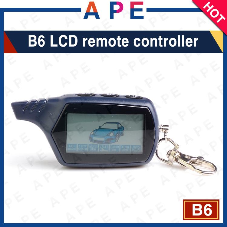 Prix pour En gros Livraison gratuite Russe version B6 LCD à distance contrôleur pour B6 voiture à distance à deux voies système d'alarme de voiture LCD Porte-clés B6