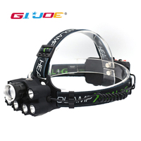 GIJOE T6 led headlamp waterproof usb rechargeable 2000LM use 2*18650 battery super bright headlight 6 modes with back light