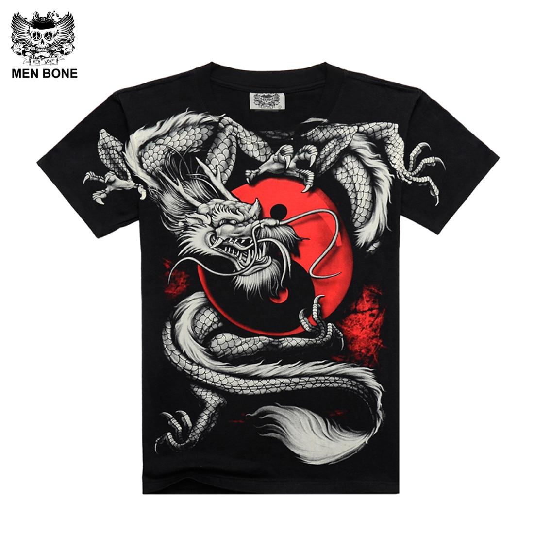 [Men bone] China Tai Chi T-shirt Dragon Rock katoenen heren Tshirt Zwart korte mouw Zwart Print Heavy Metal Stijl mouw