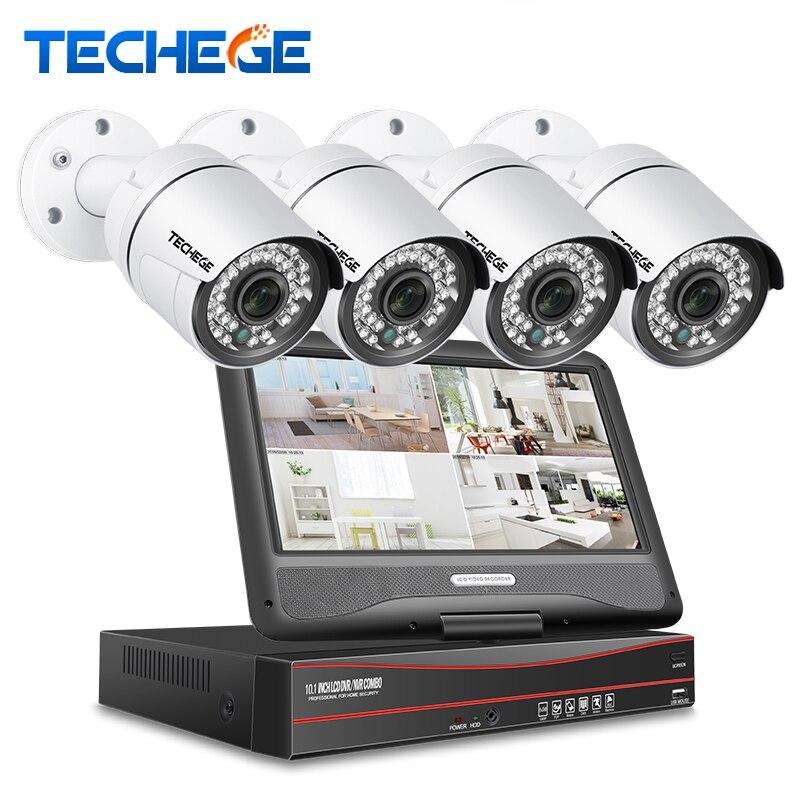 Techege 8CH 1080 p 48 v POE NVR kit Avec 10.1 ''LCD Moniteur 2MP 3000TVL PoE IP Caméra Extérieure nuit Vision Vidéo Surveillance Kit