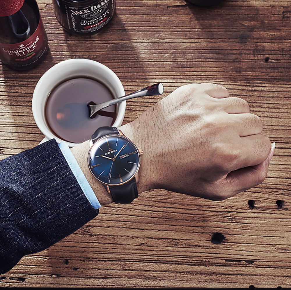 Image 4 - Reef Tiger/RT Luxury Dress Watch Men Genuine Leather Strap Blue Watch Automatic Mechanical Watches Waterproof Date Watch RGA8238tiger brandwatch brandwatch for -