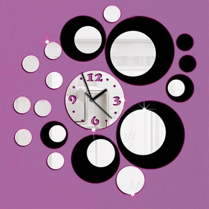 2017 Vente Chaude 3d Diy Miroir Horloge Murale Design
