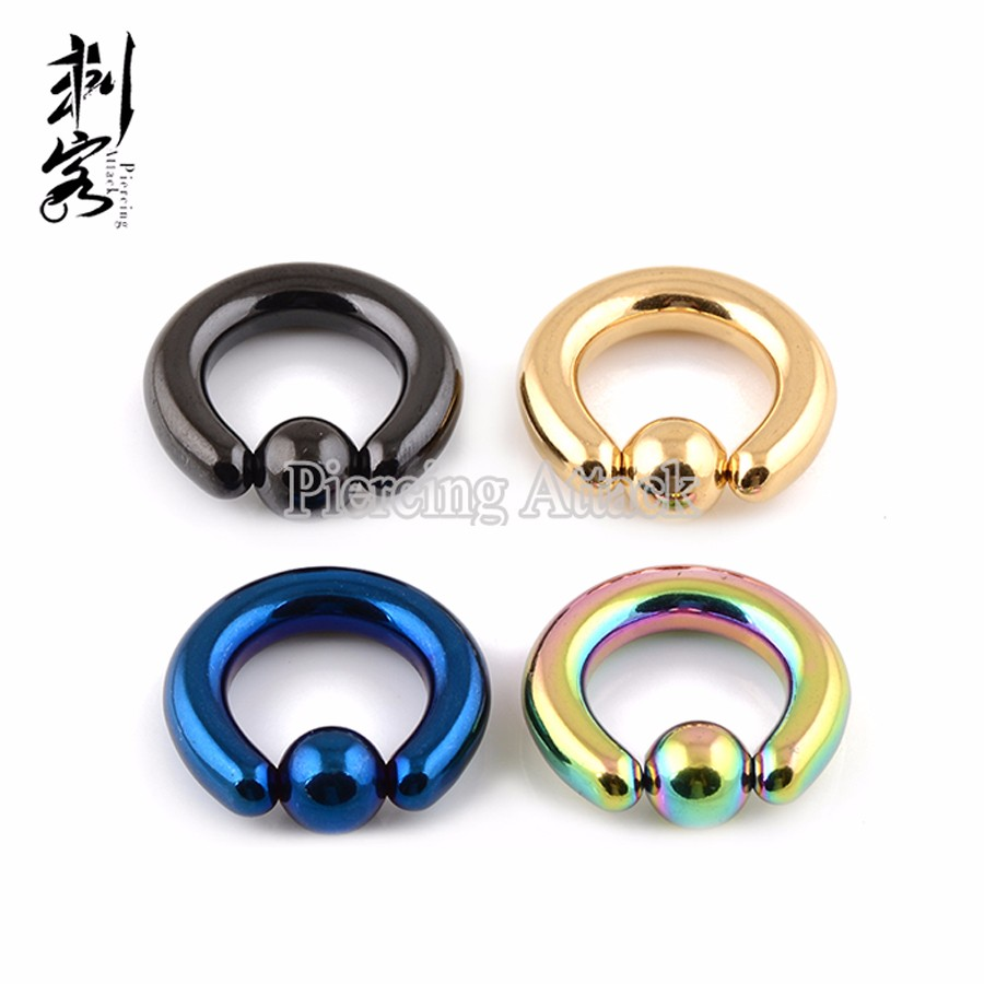 Min. order $10) Body Jewelry Titanium Plated Surgical Steel Captive ...