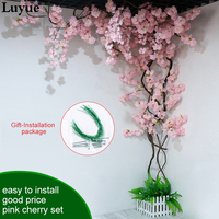 Artificial Cherry Blossom Romantic Rattan Bedroom Decoration Wedding Rose Rattan Dried Vines Set For New Years Party decoration