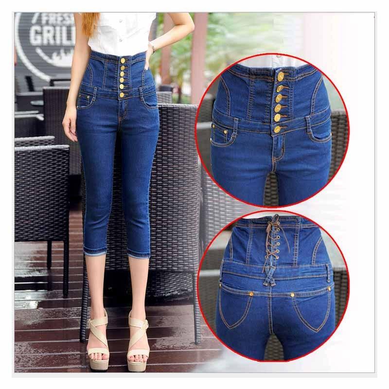 S-4XL Big Size High waist Capris Women Sexy Skinny Jeans Female denim Capris Girls blue jeans maxi Jeans Female High waist lole капри lsw1349 lively capris xs blue corn