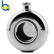5oz Stainless Steel Round Shot Flask With Central Glass Portable Mini Alcohol Hip Flasks Whiskey Bottle Best For Birthday Gift цена и фото