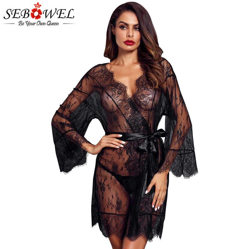 0b1d4563f SEBOWEL Black Lace Mesh Robe with Belt Women Sexy Lingerie Sleepwear Long  Sleeve Kimono Bathrobe 2018