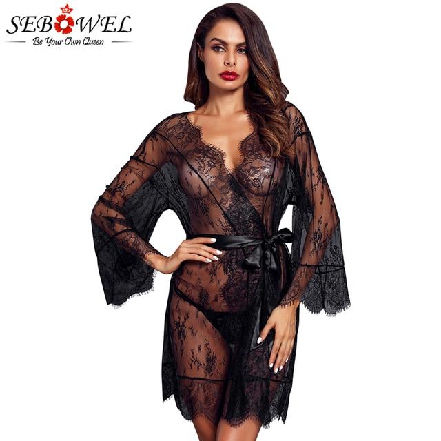 8173e8aa33a SEBOWEL Black Lace Mesh Robe with Belt Women Sexy Lingerie Sleepwear Long  Sleeve Kimono Bathrobe 2018 Lace Nightwear Babydoll