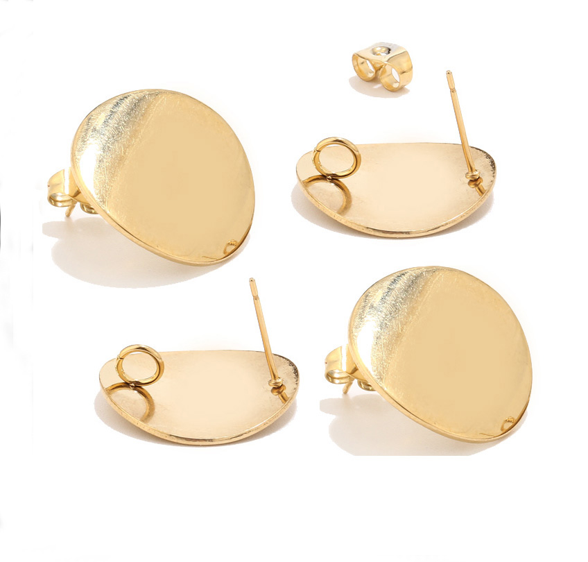 40pcs Stainless Steel Gold Stud Earrings Post With Loop Bent Round Ear Components For Earring Making