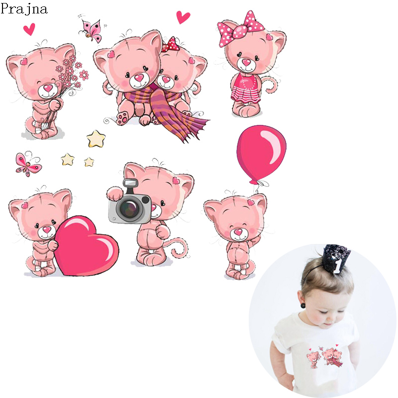 Prajna Iron On Transfer For Clothes Stickers Cartoon Animals Cute Bear Patch Thermal Heat Vinyl Baby Cloth DIY Applique