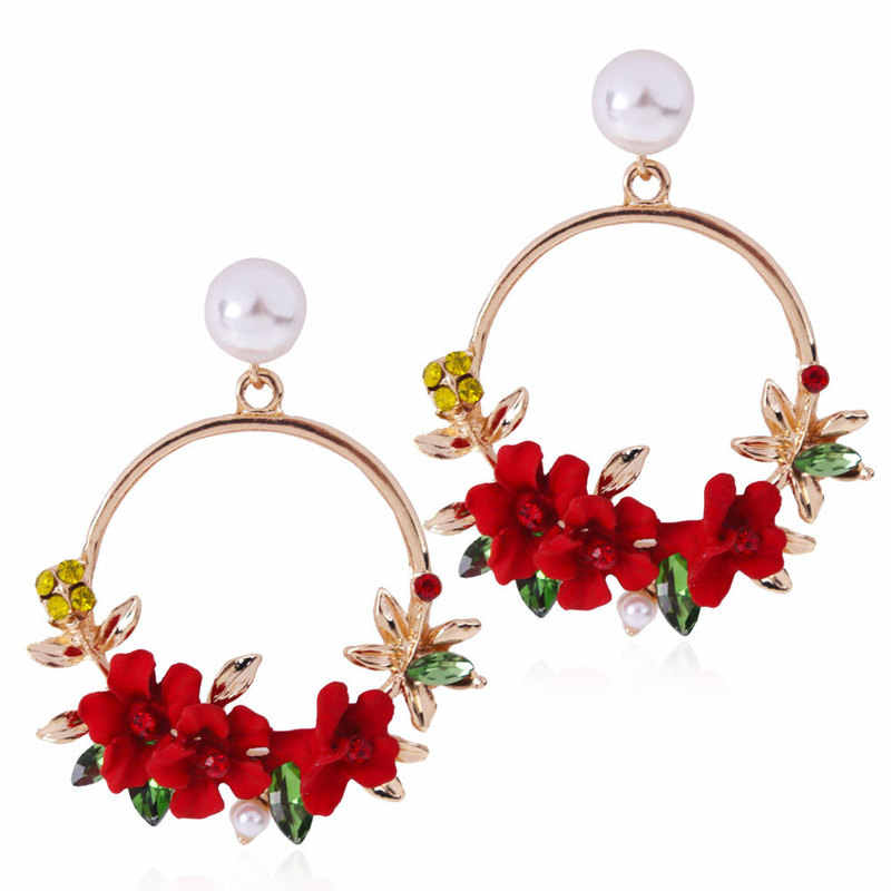 Elegant Fabric Resin Flower Earrings For Women Fashion Red/Pink/Purple Color Crystal Big Drop Earring Hot Sale Brincos 2019