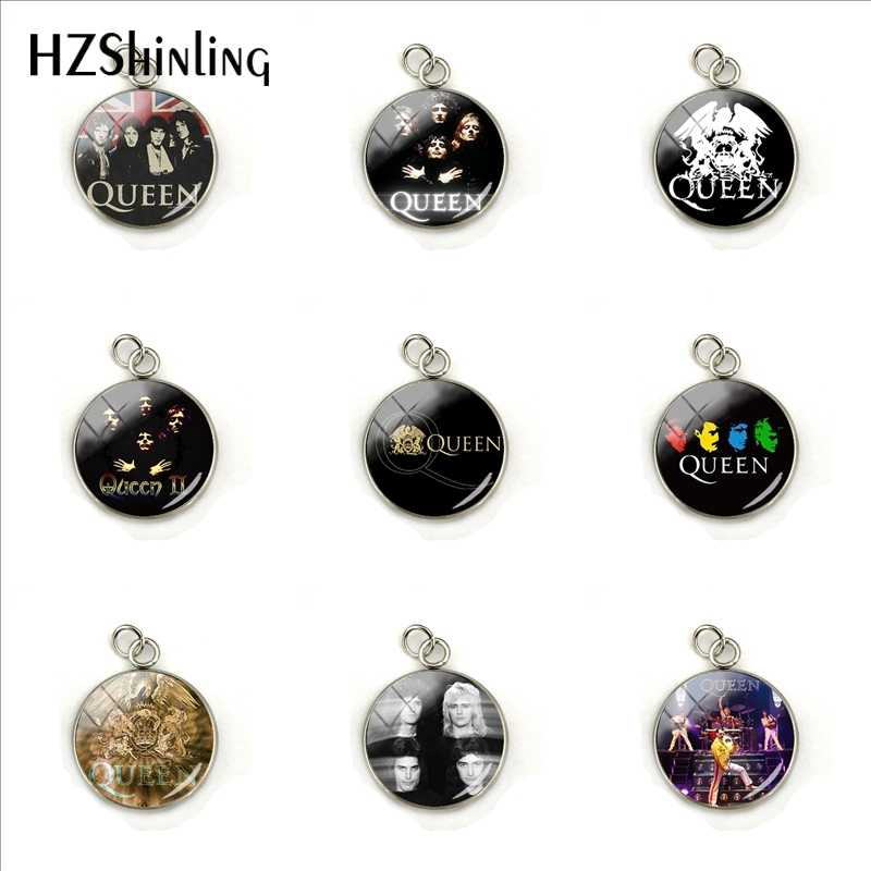 Fashion Gaya Pop dan Rock Queen Band Foto Pentagram Kaca Cabochon Perhiasan Stainless Steel Pesona Wanita Hadiah Grosir