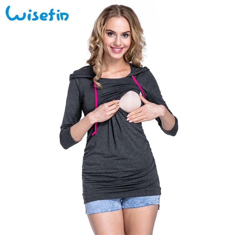 Wisefin Women Nursing Breastfeeding Tops Winter Long Sleeves T Shirt Pregnancy Nursing Clothes Autumn Zwangerschaps Kleding D40