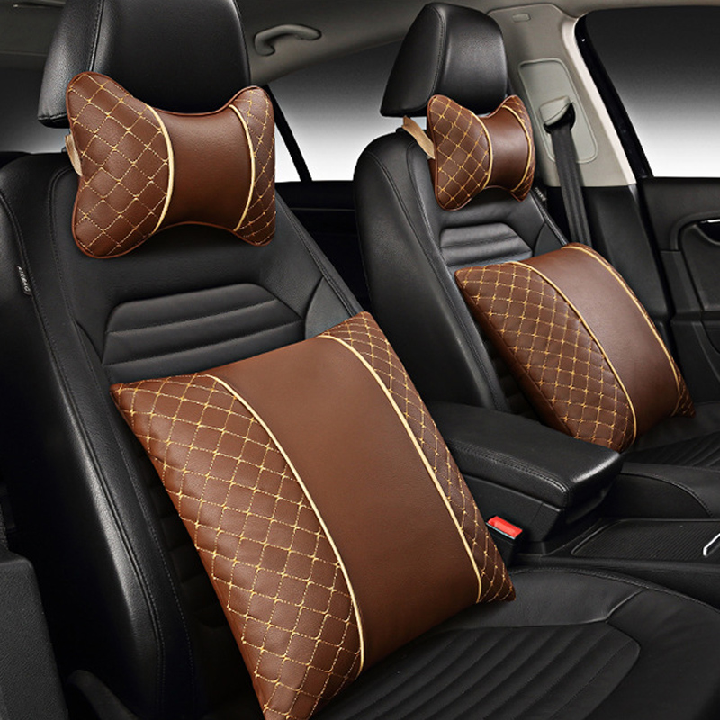 PU Leather Car Neck Pillow Pad Embroidery Auto Headrest Seat Cushion Nap Neck Pillow with Strap Car styling Accessories