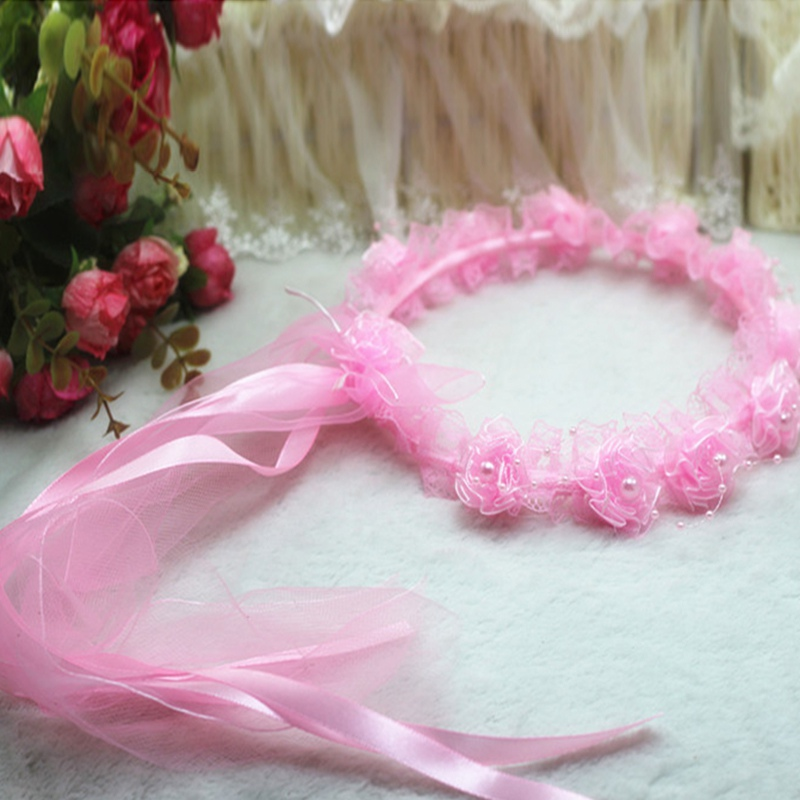 Handmade Flower Crown Garland Hairband Party Festival Flower Wreath Headband Flower Girls Hair Accessories Wedding metting joura vintage bohemian green mixed color flower satin cross ethnic fabric elastic turban headband hair accessories