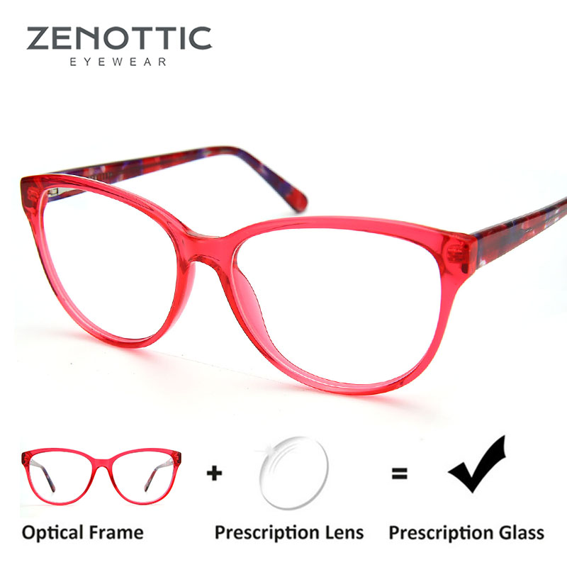 ZENOTTIC Prescription Glasses Cat-Eye-Eyewear Myopia Optical Photochromic Women Retro