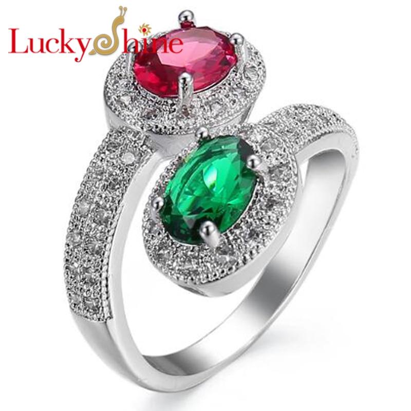 Luckyshine Aaaa Round Fire Blue Green Quartz Crystal Cubic Zirconia