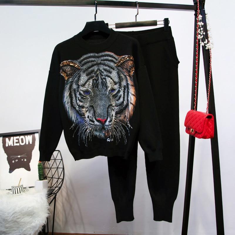 Femmes Lâche Chandail Vêtements Perles Nouvelles Ensemble Noir Mode 2018 Tête Tricoté Pièces Pantalon gris De Pull Automne Hiver Tigre Deux F5xR7q7w