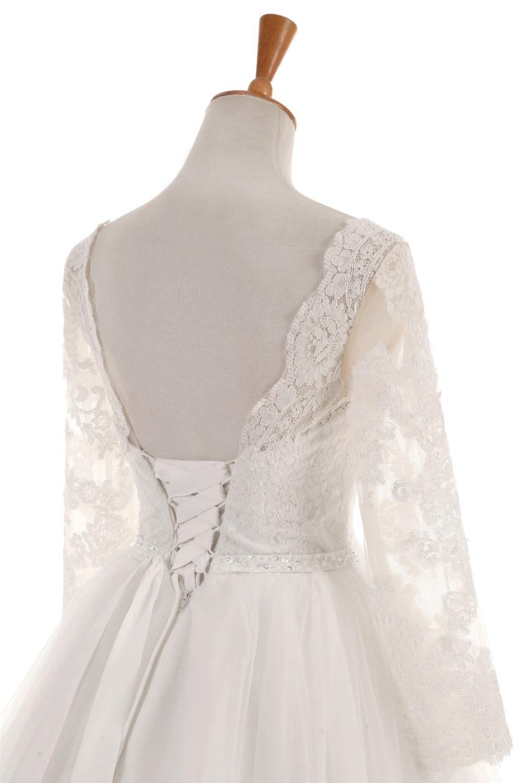 Elegant Three Quarter Sleeve Backless Lace Princess Wedding Dress