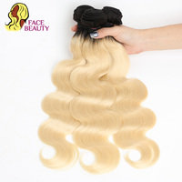 Facebeauty 1B/613 Brazillian Body Wave Human Hair Bundle 1/3/4 Pcs Two Tone Ombre Blonde Hair Weave Remy Hair Weft Free Shipping
