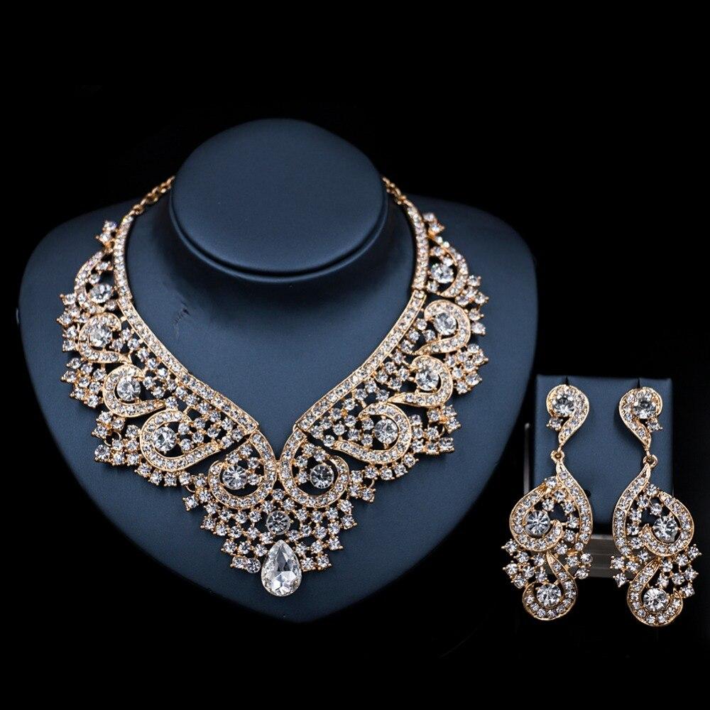 XT QU 2018 новый шаблон Дубай золотое ожерелье и серьги наборы австрийского хрусталя для свадьбы или Вечерние Бесплатная доставка
