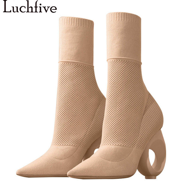 e5ddc7b91758 New Black apricot Pointed Toe Strange Heel Knitted Ankle Boots Elastic Wool  Mesh Stretch Short Booties Slip On Shoes Woman