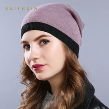 VEITHDIA WomenS Hats Knitted Wool Autumn Winter stripe High Quality Brand New 2018 Hot Sale Hat Female Skullies Beanies