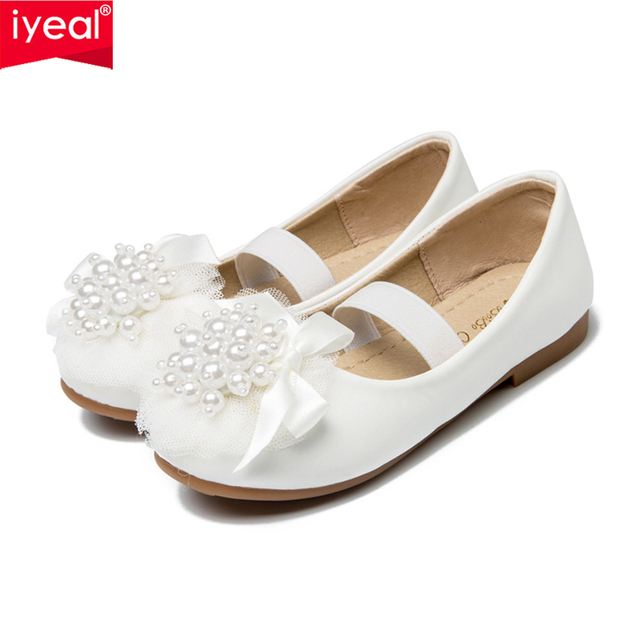 IYEAL Children Elegant Princess Kids Girls Wedding Birthday Party PU Leather Shoes Low Heels Dress Party Beaded Shoes For Girls
