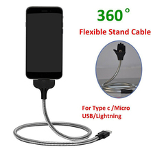 Bracket Phone-Holder Charging-Cable Usb-Charger Flexible Up for Lazy-Stand