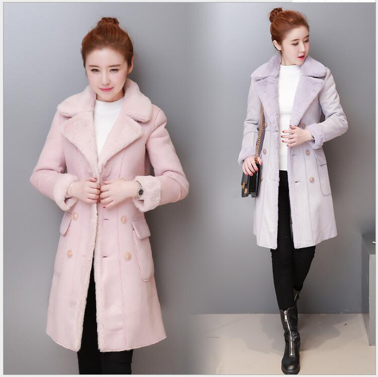 2017 winter new Korean version of the Slim was thin thick fashion elegant  long-sleeved coat deer skin cotton clothing women 2017 korean version of the thickening of female workers in the long coat lambskin coat winter coat large size coat