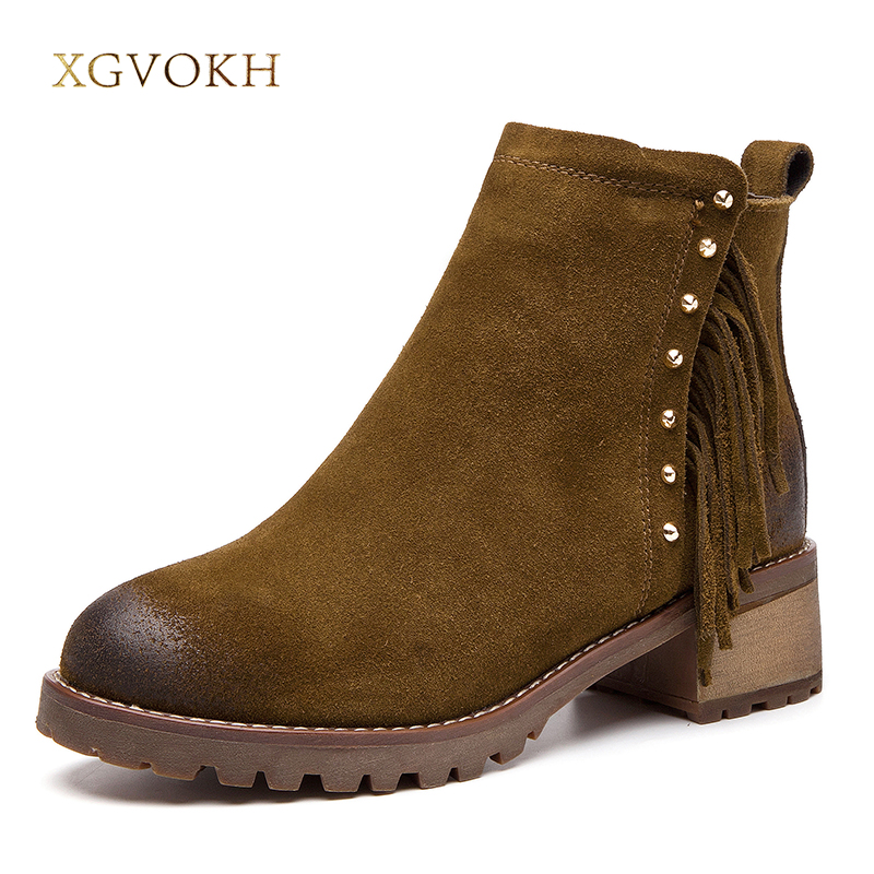 Women Chelsea Boots Cow Leather Shoes New Autumn Winter xgvokh brand Solid Zip Fringe Black Ladies shoes Fashion Ankle Boot цена и фото