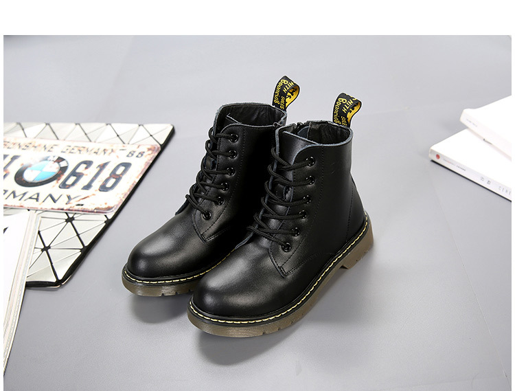 TOP Girls Snow Boots Genuine Leather Waterproof Wearable Boys Martin Boots  With Plus Keep Warm Fashion Unisex Children Shoes cc54e20ee4a