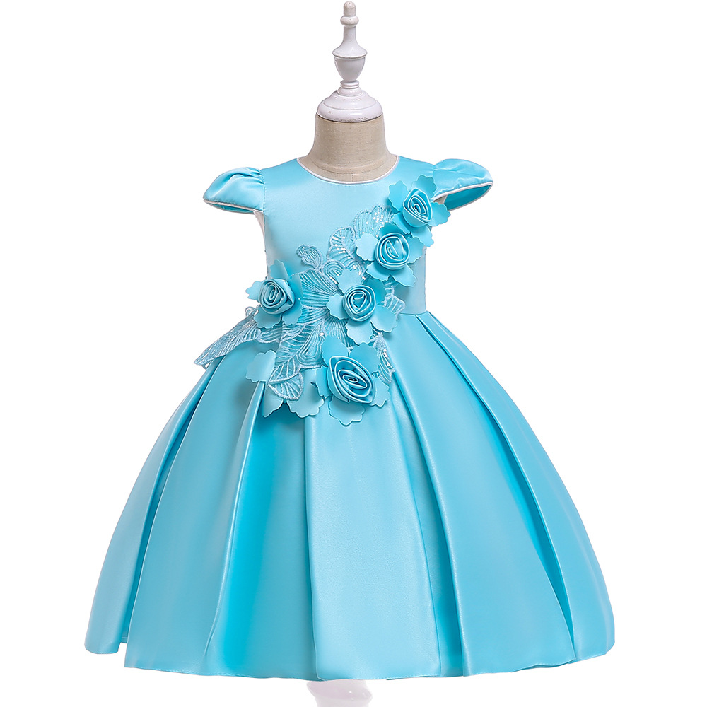 Cute 2019 Blue Satin Ballgown   Flower     Girl     Dresses   Party Gown Wedding Formal Eveing Occasion   Dress