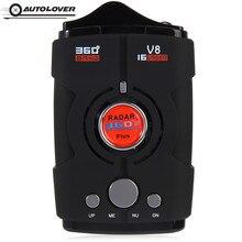 V8 Anti Radar Detector Russo/Inglês Versão 16 Band 360 Graus Display LED de Aviso de Alerta de Voz Voz Velocidade Do Carro alerta