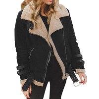 Winter Women Faux Fur Fleece Coat Outwear Warm Lapel Biker Motor Jacket Coat mujer invierno 2018 winter jacket