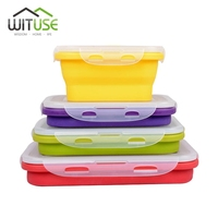 2016 New Random Yellow Green Red Purple Color Silicone Soft Travel Portable Folding Lunch Seal Storage
